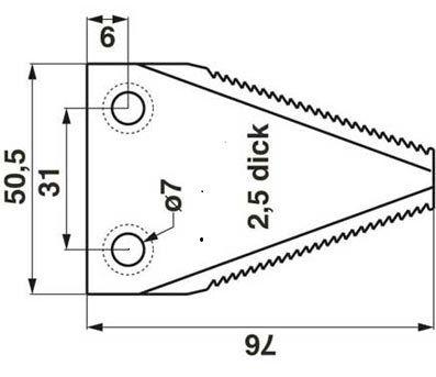 Messerklingen für Balkenmäher BCS gezahnt 76x50,5
