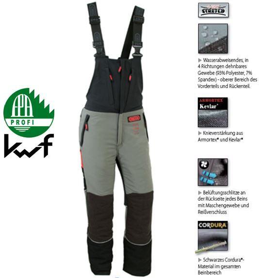 Schnittschutz- Latzhose Oregon Fiordland m. Kevlar KL 1