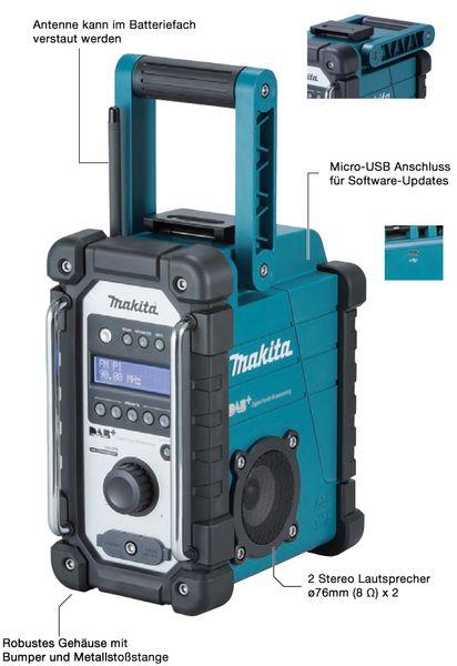 Makita Baustellenradio DMR 110 DAB+ für 7,2 - 18 V Akku