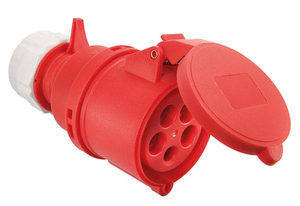 AS Schwabe CEE Kupplung 400V 32A, 5-polig, 6h IP44 selbstschliessender Klappdeckel