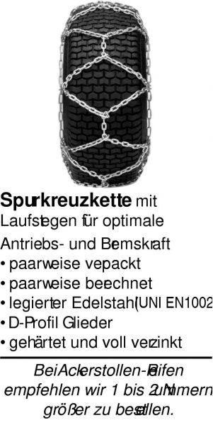 Schneekette - Spurkreuzkette 16x6.50-8